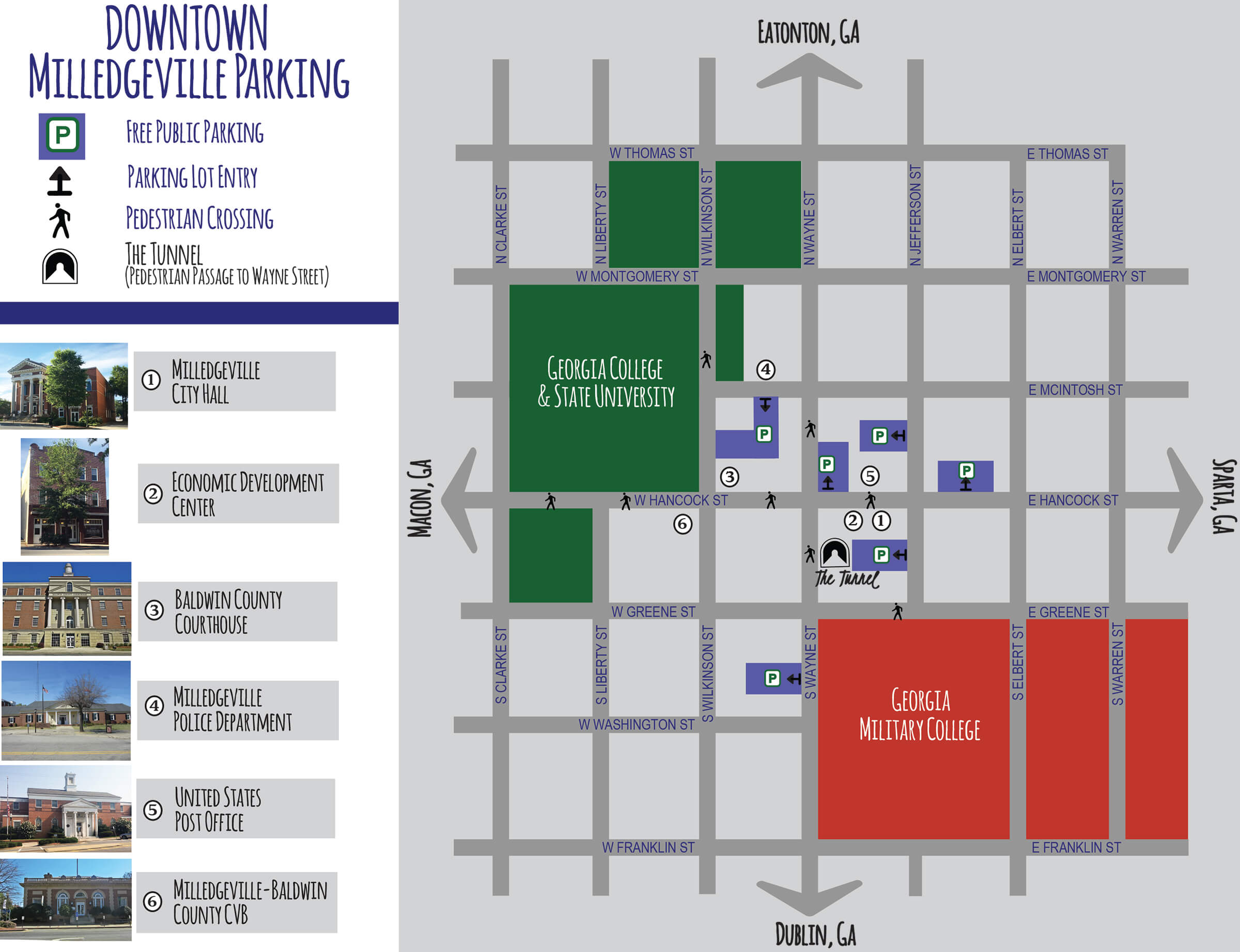 Downtown Milledgeville Parking Map - Georgia map milledgeville